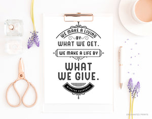 What we give, from Winston Churchill