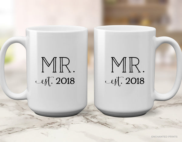 Anniversary or New Couple Wedding Gift Mug Set