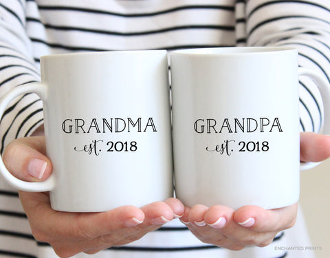 Grandma and Grandpa Mug Set