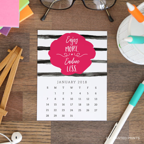 2018 Printable Motivational Desk Calendar