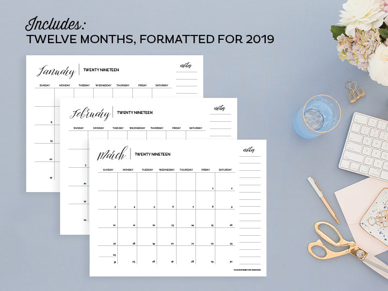 Grid Calendar Templates, Adobe InDesign Edition – Enchanted Prints
