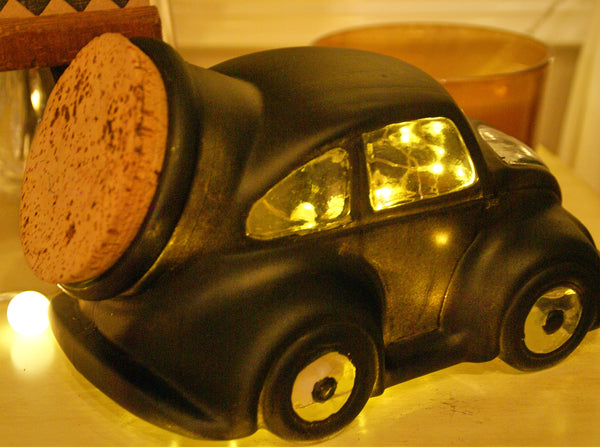 Re-Purposed - VW Glass Beetle Container with Cork Stopper