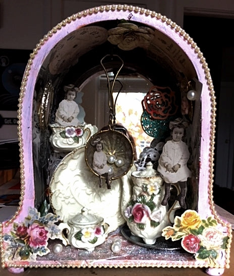 Tea Time Assemblage Art
