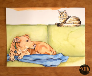 "Original Watercolor Paintings 6x8"" - Cats Are The Worst Originals Part II"