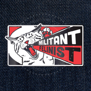 Militant Felinist - Cat Loving Feminist Iron-on Embroidered Patch