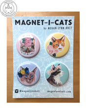 "Floral Magnet-i-cats ~ Set of Four 1.5"" Magnets"