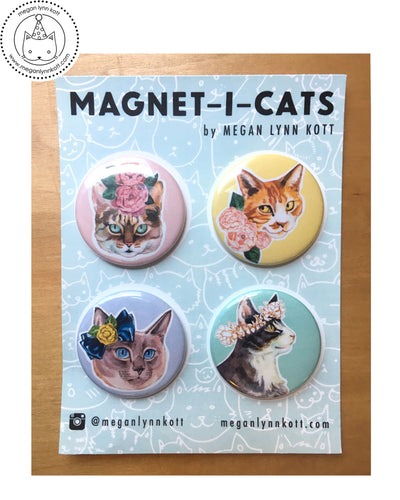 Floral Magnet-i-cats ~ Set of Four 1.5