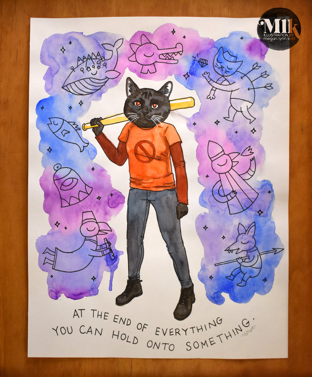 Night In The Woods Fan Art - Original Watercolor Painting 8 x 10