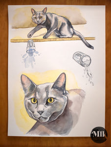 Cats Hate Water - Original Watercolor Painting 9 x 12""