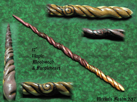 Maple Bloodwood and Purple Heart Celtic Knot Wand