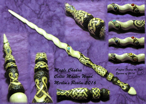 wooden celtic knot wiccan magic wand wands