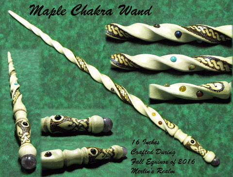 wooden chakra wiccan magic wand wands