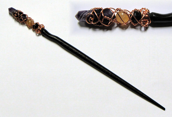 citrine and amethyst crystal red oak magic wand w39 brown shaft merlin 39 s realm. Black Bedroom Furniture Sets. Home Design Ideas