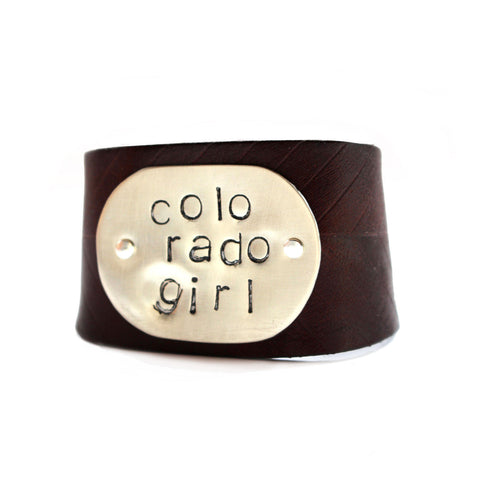 leather cuff - hand stamped colorado girl