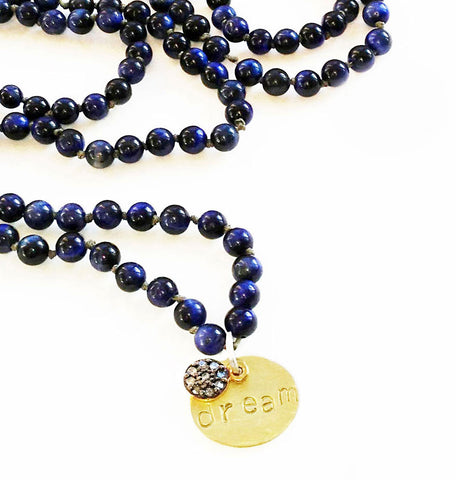 beaded necklace - lapis, diamond, gold necklace