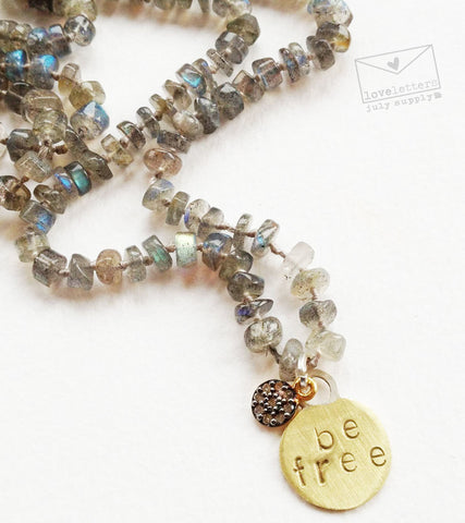 diamond, labradorite, gold beaded necklace: be free