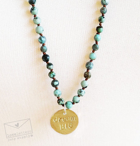 beaded necklace - gold, african turquoise