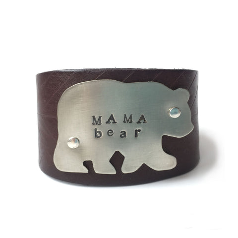 mama bear leather cuff bracelet