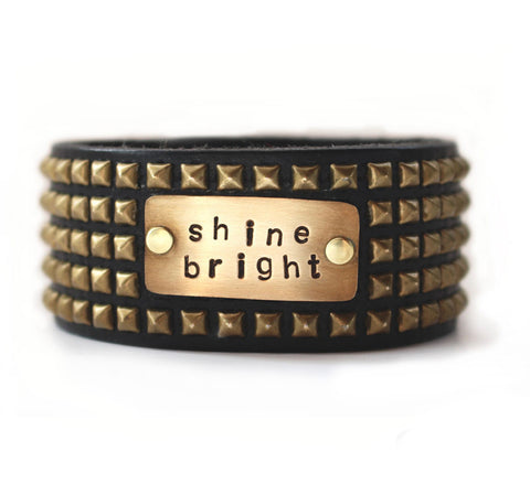 leather cuff - stamped and studded - shine bright