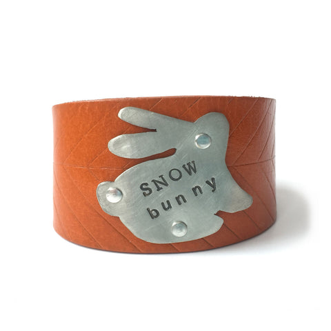 leather cuff - stamped silver - snow bunny