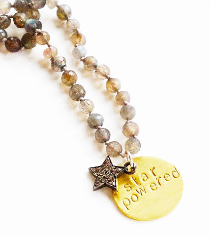diamond star, labradorite, gold beaded necklace: star powered