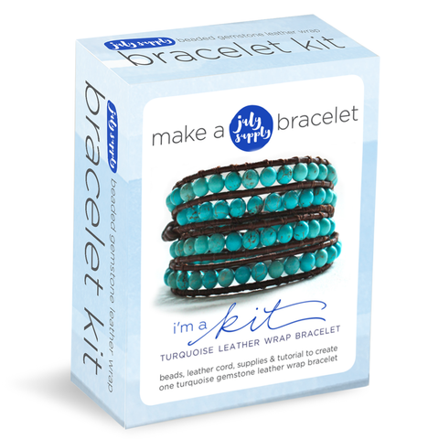 bracelet kit: turquoise beaded leather wrap bracelet
