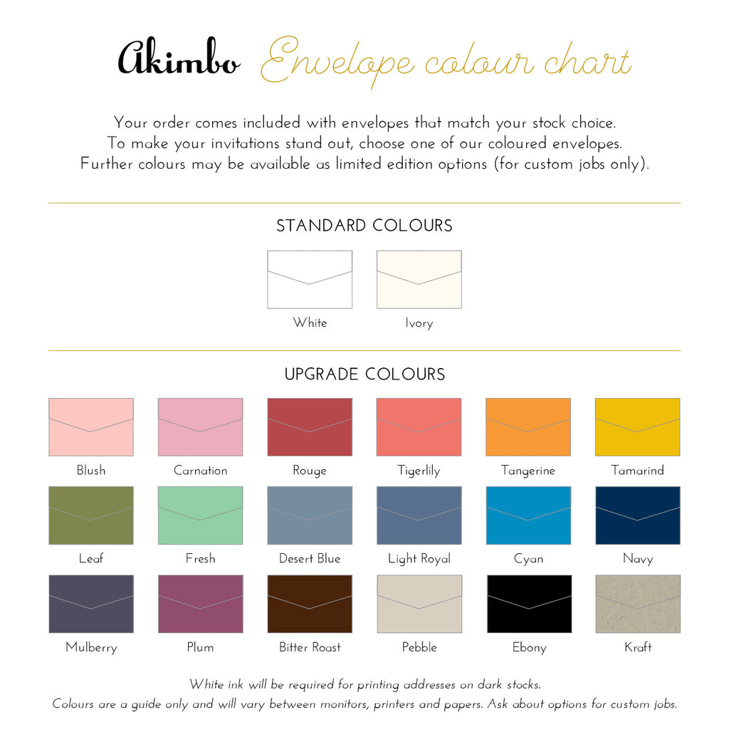 Akimbo envelope colour chart