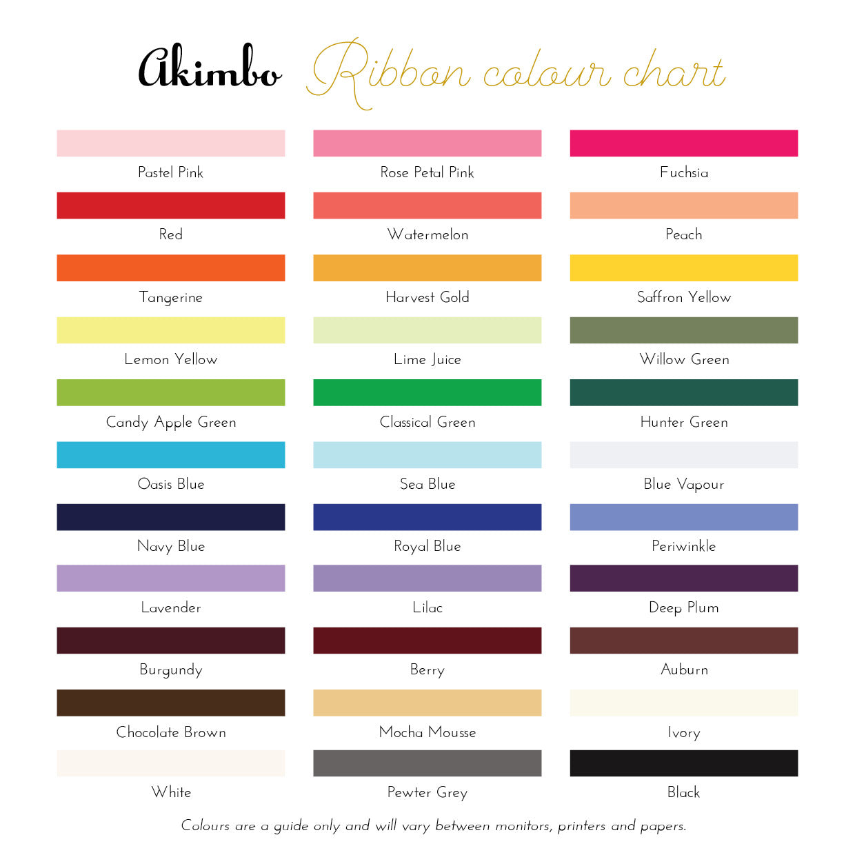Akimbo ribbon colour chart