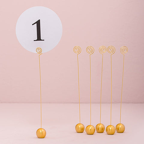 Classic gold tall table number holder [HIRE]