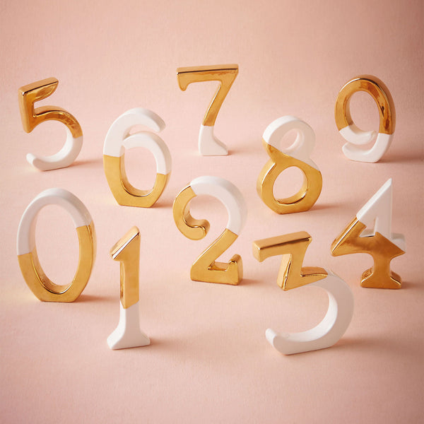 Gold dipped table numbers [HIRE]