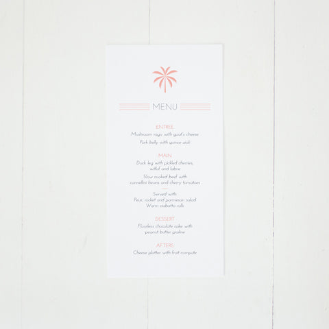 Palm Cove menu