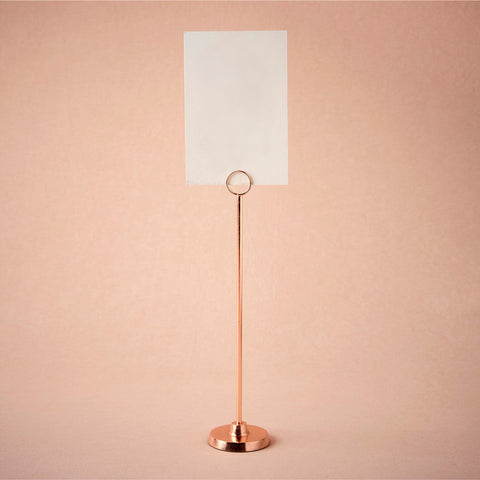 Rose gold tall table number holder [HIRE]