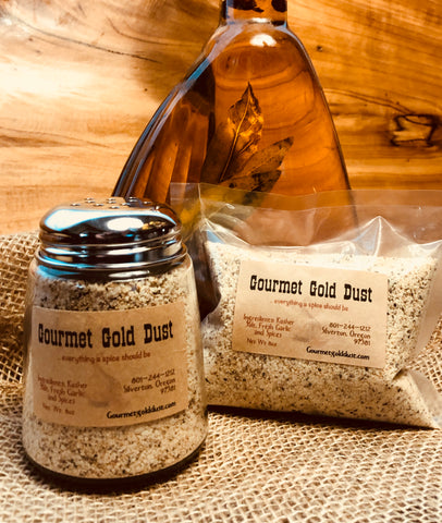 Gourmet Gold Dust 8oz Shaker (Glass) and 8oz Refill