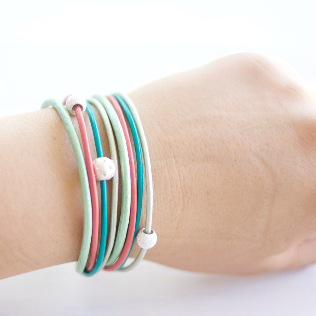 Coral Pink, Teal and Mint Leather Wrap Bracelet Leather Wrap Bracelet | CalypteCollection.com