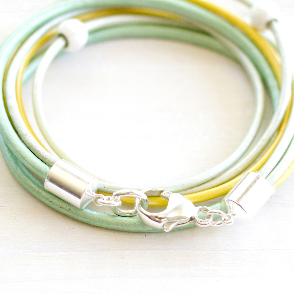 Soft Mint Green & Yellow Leather Wrap Bracelet | CalypteCollection.com