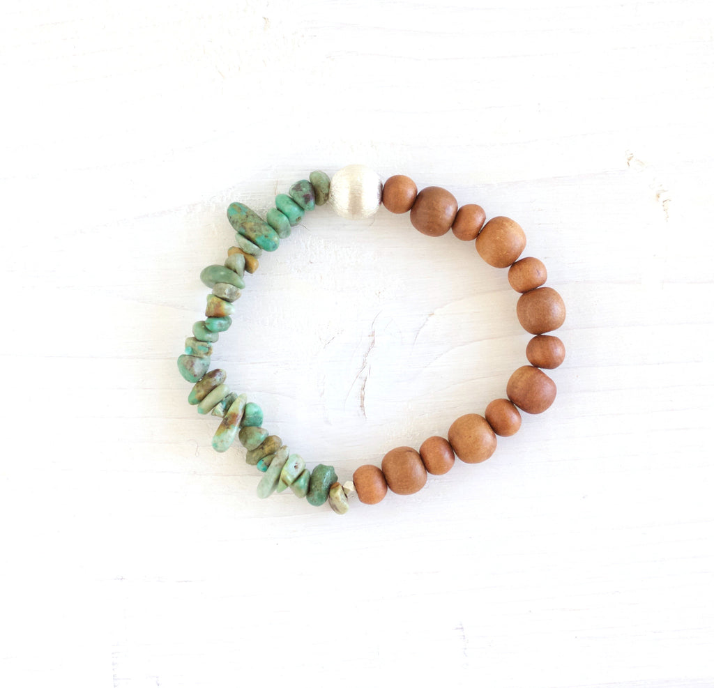 turquoise sandalwood beaded bracelet