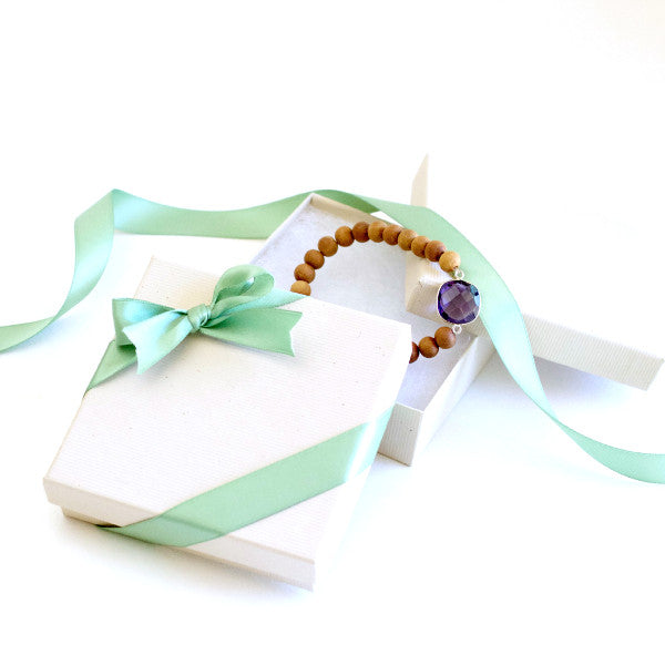 Turquoise & Sandalwood Stacking Bracelet
