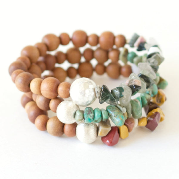 sandalwood gemstone bracelet stacks holiday gifts