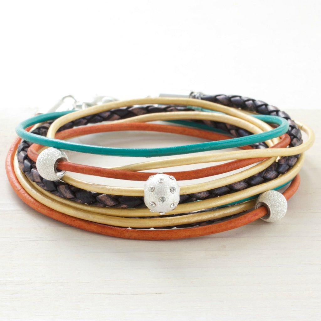 Golden Orange, Teal and Metallic Brown Leather Wrap Bracelet | CalypteCollection.com