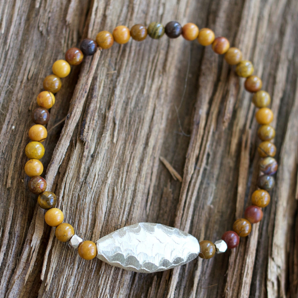 Hammered Silver Petrified Brazilian Wood Agate Stretch Bracelet