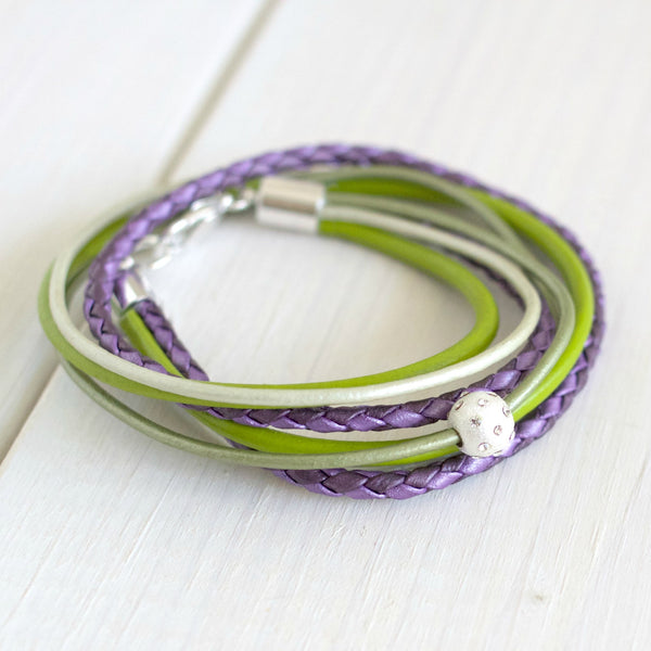 Desert Beauty ~ Violet & Fern Leather Wrap Bracelet