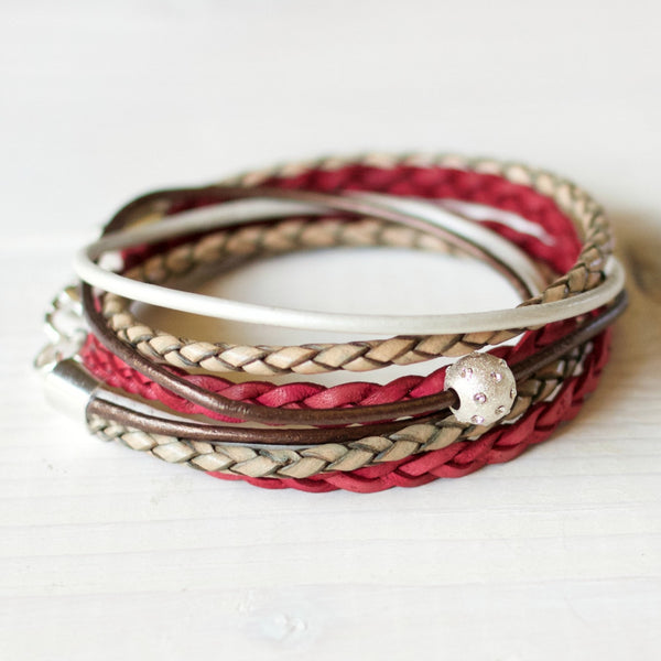 Cyclamen Pink & Bronze Leather Wrap Bracelet