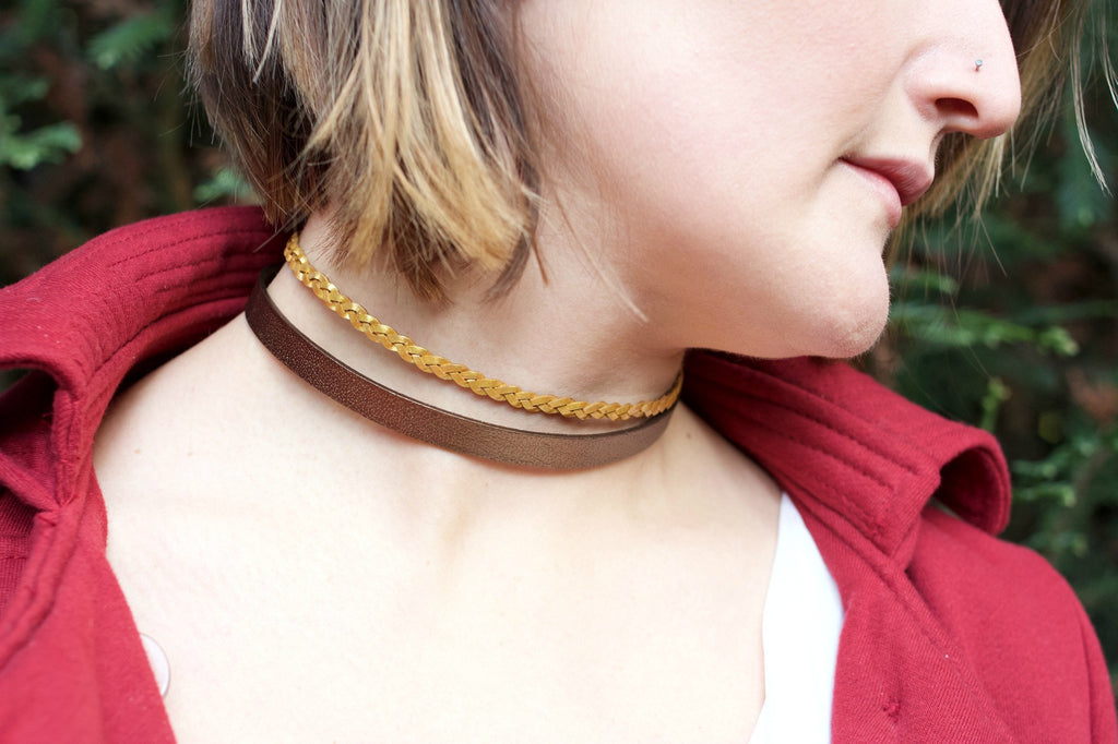 Meadow Green Radiance Choker ~ Braided Leather Choker