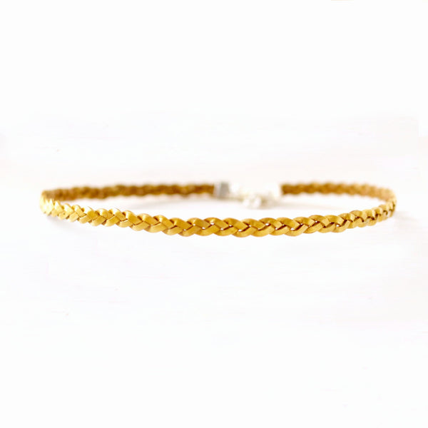 Goldenrod Radiance Choker | Braided Leather Choker | CalypteCollection.com