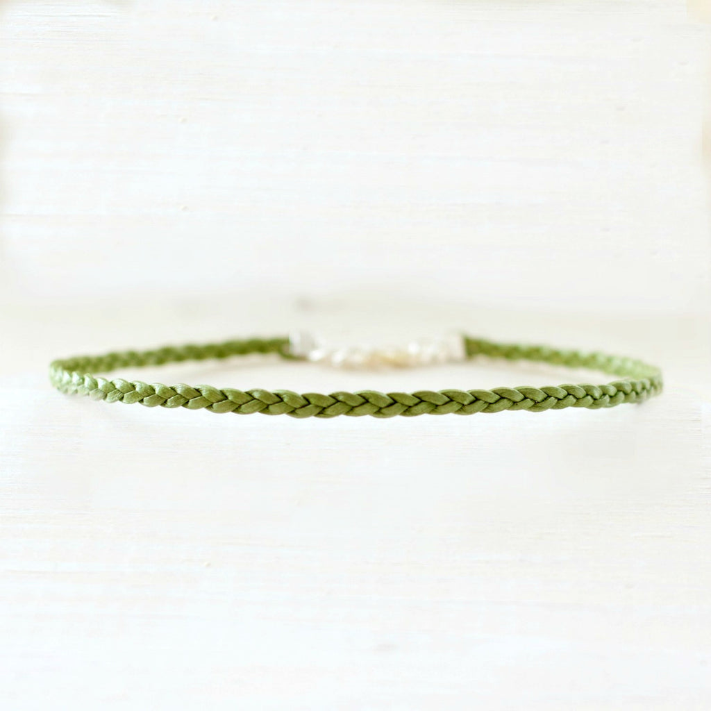 Meadow Green Radiance Choker | Braided Leather Choker | CalypteCollection.com