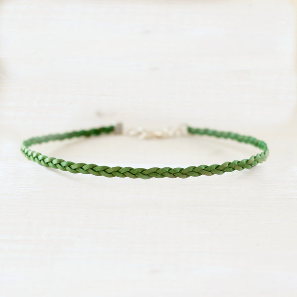 Fern Green Radiance Choker | Braided Leather Choker | CalypteCollection.com