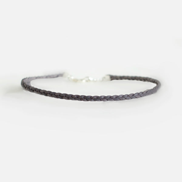 Smoke Gray Choker | Double Strand Braided Leather Choker | CalypteCollection.com