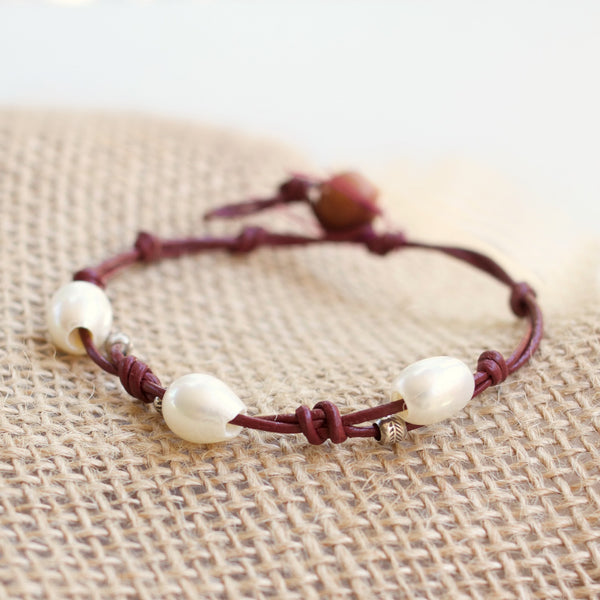 Clarkia In Bloom Leather Knot Bracelet
