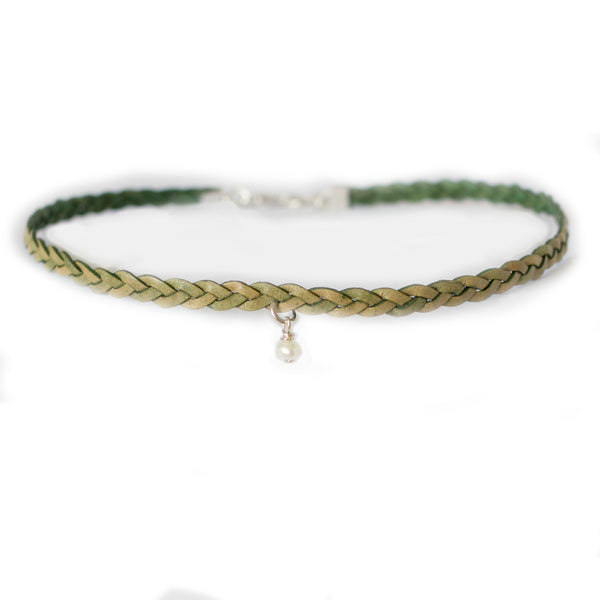 Leaf Green Radiance Choker Necklace ~ Braided Leather Choker
