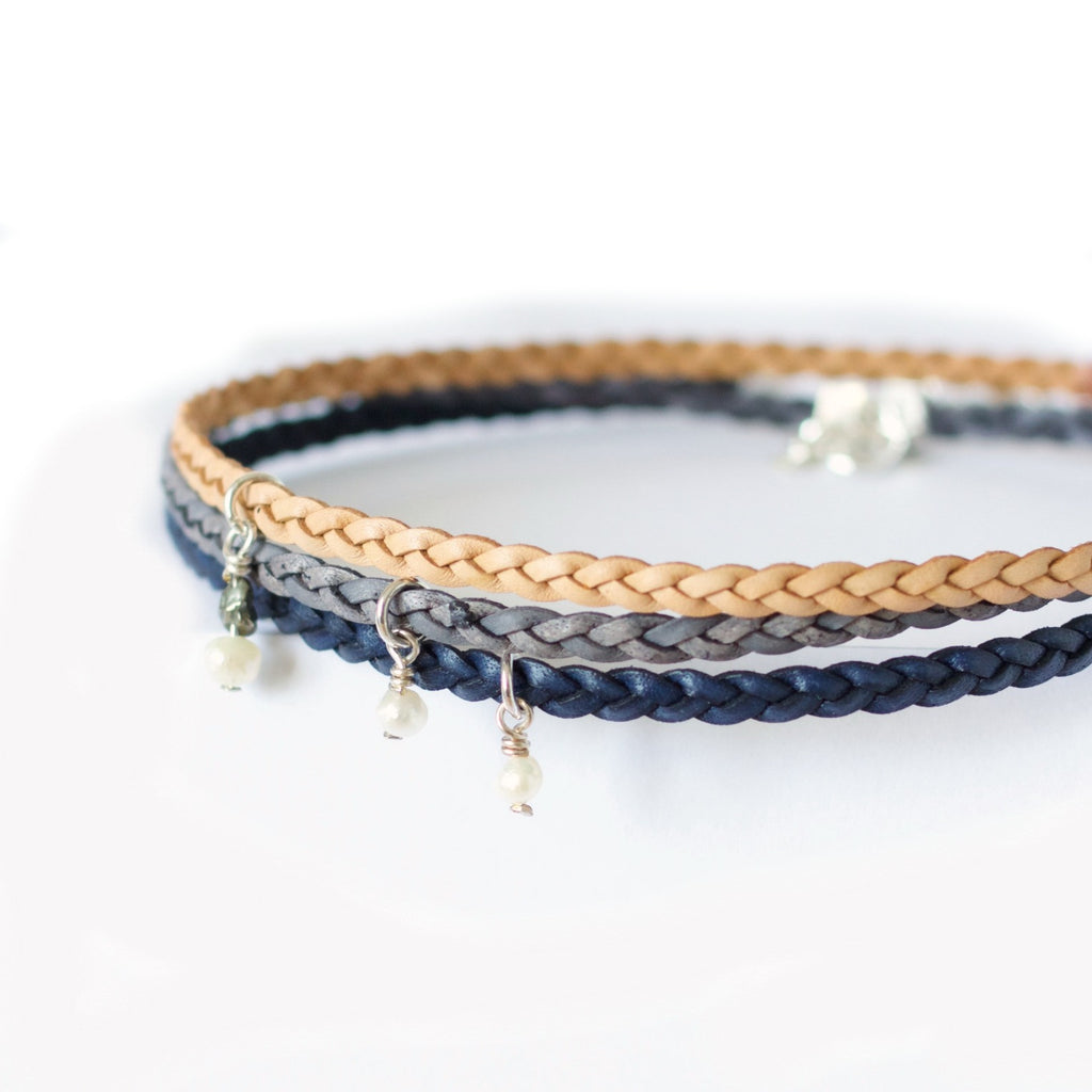 Wild Grass Radiance Choker Necklace ~ Braided Leather Choker